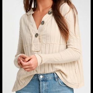 NEW NWT Free People Ivory Ribbed Long Sleeve Top